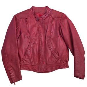 Vintage Hein Gericke Red Leather Motorcycle Jacket